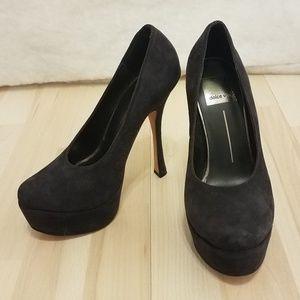 Dolce Vita navy blue suede platform pump heels